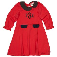 Girls Red Collar Dress – Lolly Wolly Doodle