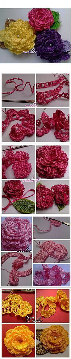 """Розы крючком, нежнее нежного. [ """"Find and save knitting and crochet schemas, simple recipes, and other ideas collected with love."""" ] # # #Crochet #Embellishments, # #Crocheted #Flowers, # #Flower #Crochet, # #Rose, # #Gigli, # #Bunga, # #Crafts, # #Vidal, # #Free #Crochet"""