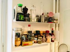 Wider wall shelves will make cookery stuff easily accessible, you will look for ideas and recipes at leisure and will renew your menus every day. Kitchen Wall Shelves, Corner Shelves, Kitchen Storage, Narrow Shelves, Lamb Dishes, Wine Wall, Cookery Books, Steel Sheet, Cleaning Walls