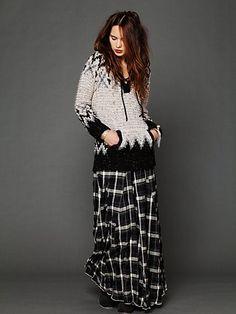 FREE PEOPLE Plaid Flannel Maxi Skirt