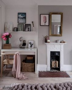 Bedroom with Victorian cast iron fireplace