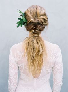 boho-style-wedding-up-do-braided-pony-Austin-Gros-Photography boho-style-weddin. Wedding Up Do, Boho Wedding Hair, Wedding Bride, Wedding Ideas, Twist Ponytail, Sleek Ponytail, Bridesmaid Hair Side, Summer Wedding Hairstyles, Bridal Hairstyles