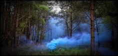 Blue Smoke effect from Enola Gaye the specialist smoke grenade manufacturers. Smoke screens designed for airsoft and paintball but also commonly used in film and photography. The most amazing shades of colour that swirl and move through the woodland.