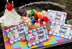 Cool Alice In Wonderland Birthday Party Food Cards- By Free Birthday Party Printables