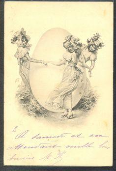 PG009 VIENNE THREE Elegant LADIES dancing around HUGE EGG  undivided back 1902