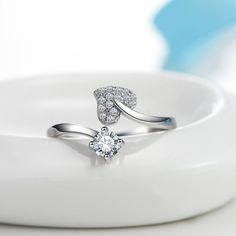 925 Sterling Silver Hearts AAA Zircon Rings Rhinestone Open Adjustable Ring European Elegant Jewellery For Girls Prime High quality - Silver Jewellery 925 - SHOP NOW