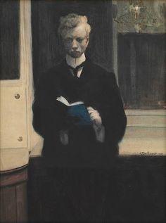 Self portrait with blue sketchbook - Leon Spilliaert