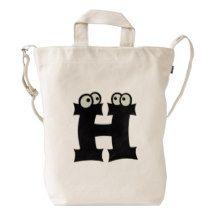 Custom Letter H Initial Monogram Funny Duck Bag Duck Canvas Bag