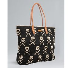 Tapestry crochet tote with skulls and crossbones! (Rebecca Minkoff black crochet 'East West Skull' leather trim tote)