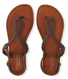 nice Aeropostale Women's Braided Loop Sandal 7 Brown
