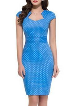 OL Style Sweetheart Neck Cap Sleeve Polka Dot Bodycon Pencil Dress For Women