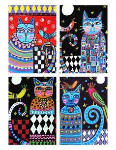 Harlequin Cats Folk Art