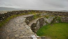 The walls of The Grianán of Ailech in County Donegal