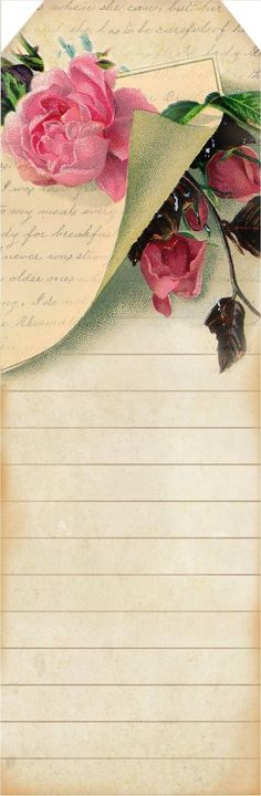 Breathings of your heart... ~ FREE lined bookmark with pink roses, tag and letter from 1880's