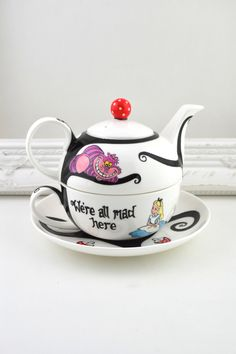 Alice in Wonderland Tea Set For One by ToastedGlass on Etsy https://www.etsy.com/listing/269022990/alice-in-wonderland-tea-set-for-one