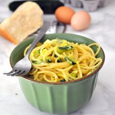 A healthier version of the traditional spaghetti alla carbonara, complemented with zucchini for a sweeter and more delicate taste
