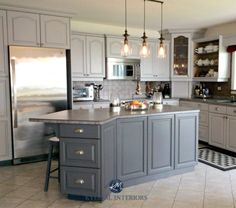 Oak Kitchen Cathedral Cabinets Painted Benjamin Moore Baltic Gray And Gray  2121 10. With