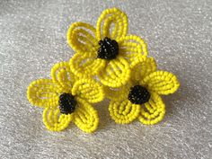 FREE SHIPPING  Sunflower French Beaded by FloralUniqueDesign