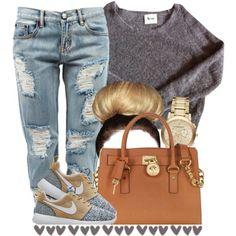 Gray sweatshirt, sliced jeans, blue mk bag, adidas.... or orange nikes, blk sweatshitt sliced jeans, org mk bag