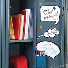Having trouble staying on top of your busy schedule? Here's a smart locker tip from Staples: Create a space for helpful reminders — and even motivational memos — to keep things running smoothly. School Stuff, Back To School, School Supplies, Schedule, Lockers, Motivational, Teacher, College, Notes