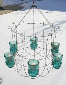 glass insulators/wire chandelier