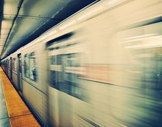 City Photography, Toronto, TTC, Subway Train, Motion, City Life, Silver, Yellow, Urban Photography, Blurred - Rush Hour (8x10) on Etsy, $30.00