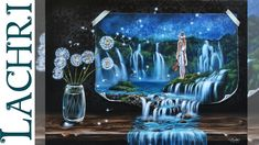 Surreal waterfall landscape in acrylic - Lachri speed painting. This woman's art videos are AMAZING!!! Her art is SO magical and wonderful!