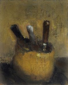 Robert D'Arista Paintings 1980. Jar with etching tools. Oil on canvas on panel, 10 x 8 in., 1980.