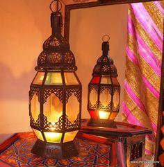 Filagree Moroccan Lamp, coloured