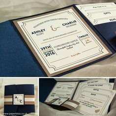 Here's a beautiful vintage inspired wedding invite, pictured here is our midnight blue pocketfold with a kraft backing mat and belly band. Pocketfold Invitations, Wedding Invitations, Belly Bands, Celebrity Weddings, Design Your Own, Midnight Blue, Rsvp, Invite, Vintage Inspired
