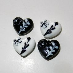 White and Black Heart Lampwork Glass Beads by CloudNineSupplyShop, $6.00