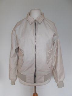 Vintage mens cream jacket 70s harrington bomber jacket - English made - plaid tartan lining size medium by BidandBertVintageMen on Etsy