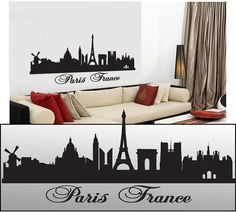 Wall Decal Sticker Paris France Skyline 22 Tall by FamilyGraphix