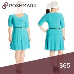 Mint Teal Half Sleeve Summer Fit and Flare Dress Gorgeous mint teal color, scoop neck, flattering fit and flare cut, contrasting belt, and ruched half sleeves. A comfortable, versatile, wear anywhere piece you can easily take from day to night.  Sizes XL/1X and XXL/2X  ❌ Sorry, no trades. fairlygirly Dresses