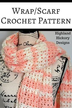 Crochet the Creamsicle Wrap with this free easy pattern! It can be worn around the shoulders, as a scarf or wrapped around your hips as a swimsuit cover up. Crochet Scarves, Crochet Shawl, Crochet Clothes, Free Crochet, Crochet Ideas, Crochet Patterns For Scarves, Crochet Projects, Crochet Scarf Easy, Crocheted Scarf