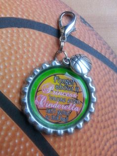 Basketball Bottle Cap Keychain OR Zipperpull.  Zipperpulls are great for Zippers on Coats, Sweatshirts, Duffle Bags, Wallets, Purses and more.  Great Team Gift Idea!