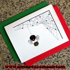 black widow spider decorates her web holiday christmas dark goth punk alternative emo rockabilly greeting cards, notecards, thank you notes. custom personalized - set of 10 handmade by OnCupcakeMoon