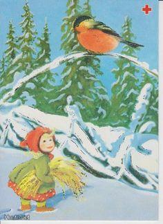 Olavi Vikainen Christmas Art, Vintage Christmas, Vintage Illustrations, Heaven, Bird, Painting, Sky, Painting Art, Paintings