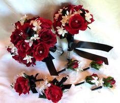 Bride bouquet, Bridesmaids bouquet and groom/groomsmens Boutonnieres #Sensationnel, #MyDreamWedding