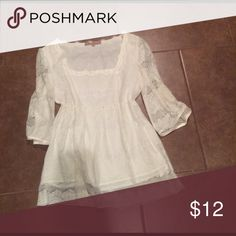 Cute cream lace top Cream colored lace top. Perfect to pair with denim jeans or shorts Tops Blouses