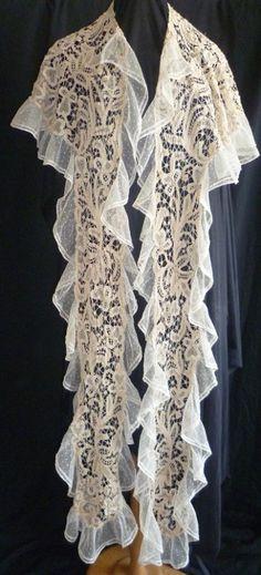 Antique Edwardian Tape Lace Shawl Circa 1910