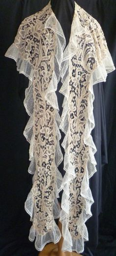 Antique Edwardian Tape Lace Shawl Circa 1910