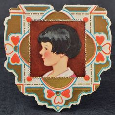 Vintage DECO 1920s BOBBED Hair GIRL PROFILE Heart VALENTINE Card WHITNEY MADE