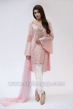 Stylish Suit, Eid Dresses, Pakistani Outfits, Chain Stitch, Kimono Top, Bell Sleeve Top, Dressing, Girly, Trends 2018