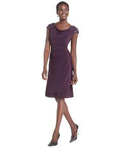 Alex Evenings Dress, Cap Sleeve Embellished Shoulder Draped - Womens Dresses - Macy's