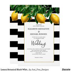 Lemon Botanical Black White Stripe Wedding Invitation Black And White Wedding Invitations, Beach Wedding Invitations, Elegant Wedding Invitations, Custom Invitations, Party Invitations, Striped Wedding, Wedding Black, Black And Gold Theme, Elegant Modern Wedding