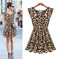94929acc68c6a Fashion Women s Sleeveless Printed Leopard Dress Cheetah Dress