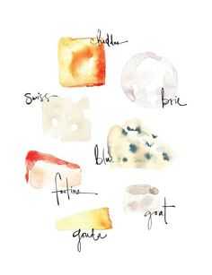 Glorious Cheese Archival Print by Kelly Ventura. Watercolor Food, Watercolor Illustration, Cheese Art, Fromage Cheese, Food Sketch, Kitchen Art, Food Illustrations, Food Art, Photo Art