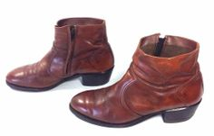 Men's Vintage Brown Leather Ankle Boots w/ Zipper & Cross Stitch Pattern Sz 10 #AnkleBoots