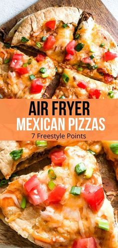 Air Fryer Mexican Pizza - Recipe Diaries - Air Fryer Mexican Pizzas – 2 tortillas filled with beans and beef and topped with enchilada sauce - Air Fryer Recipes Snacks, Air Fryer Recipes Vegetarian, Air Fryer Recipes Breakfast, Air Frier Recipes, Air Fryer Dinner Recipes, Cooking Recipes, Pizza Recipes, Cooking Tips, Healthy Recipes